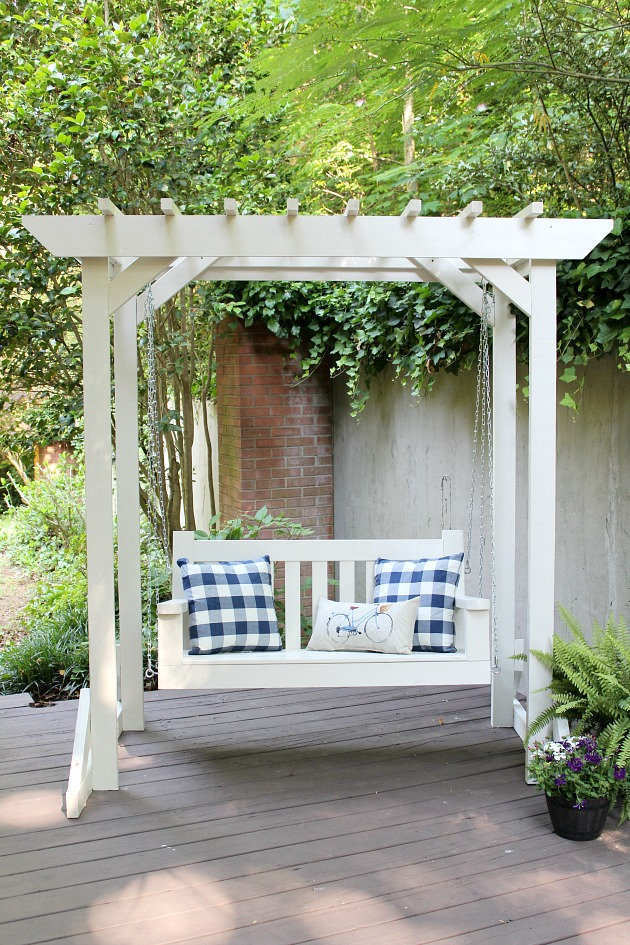 DIY Porch Swing Plans - DIY Porch Swing Pergola by Sincerely, Marie Designs