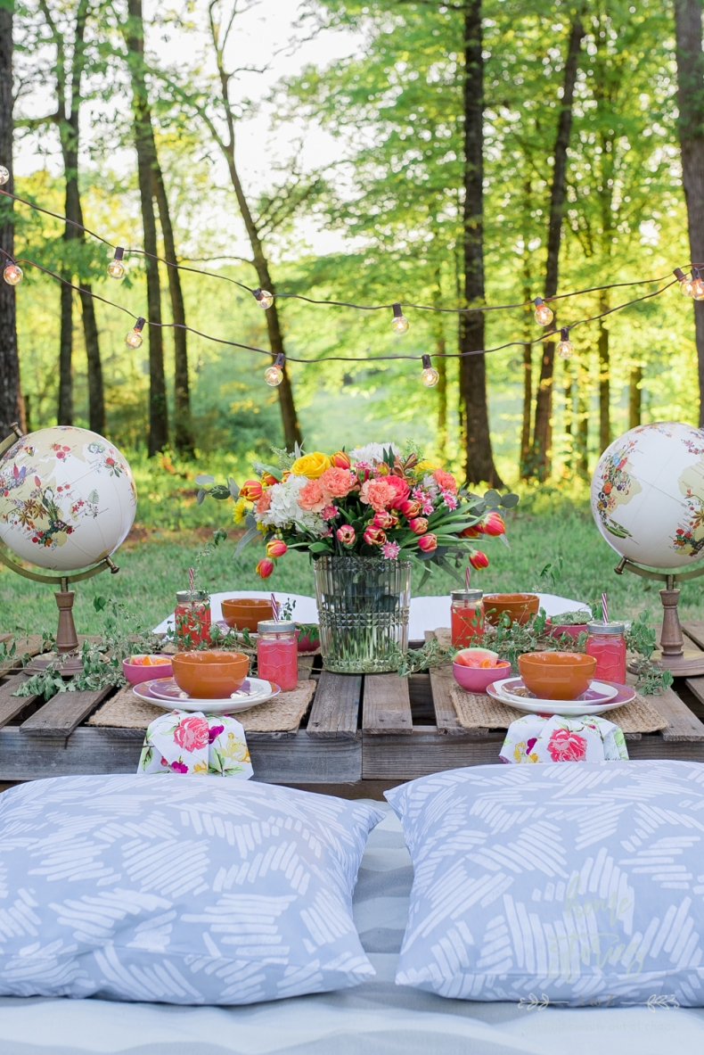 Entertaining Outdoors Using String Lights - Beautiful Chic Bobo Outdoor Table Setting by Home Stories A to Z