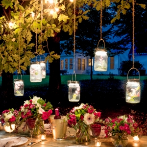 Entertaining Outdoors Using String Lights - Gorgeous Outdoor Tablescape by Home Stories A to Z