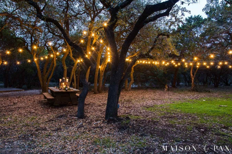 Entertaining Outdoors Using String Lights - How to Hang Outdoor Lights by Mason de Pax
