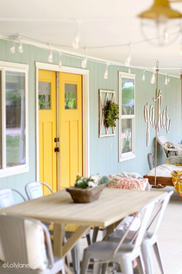 Entertaining Outdoors Using String Lights - Porch String Lights by Lolly Jane