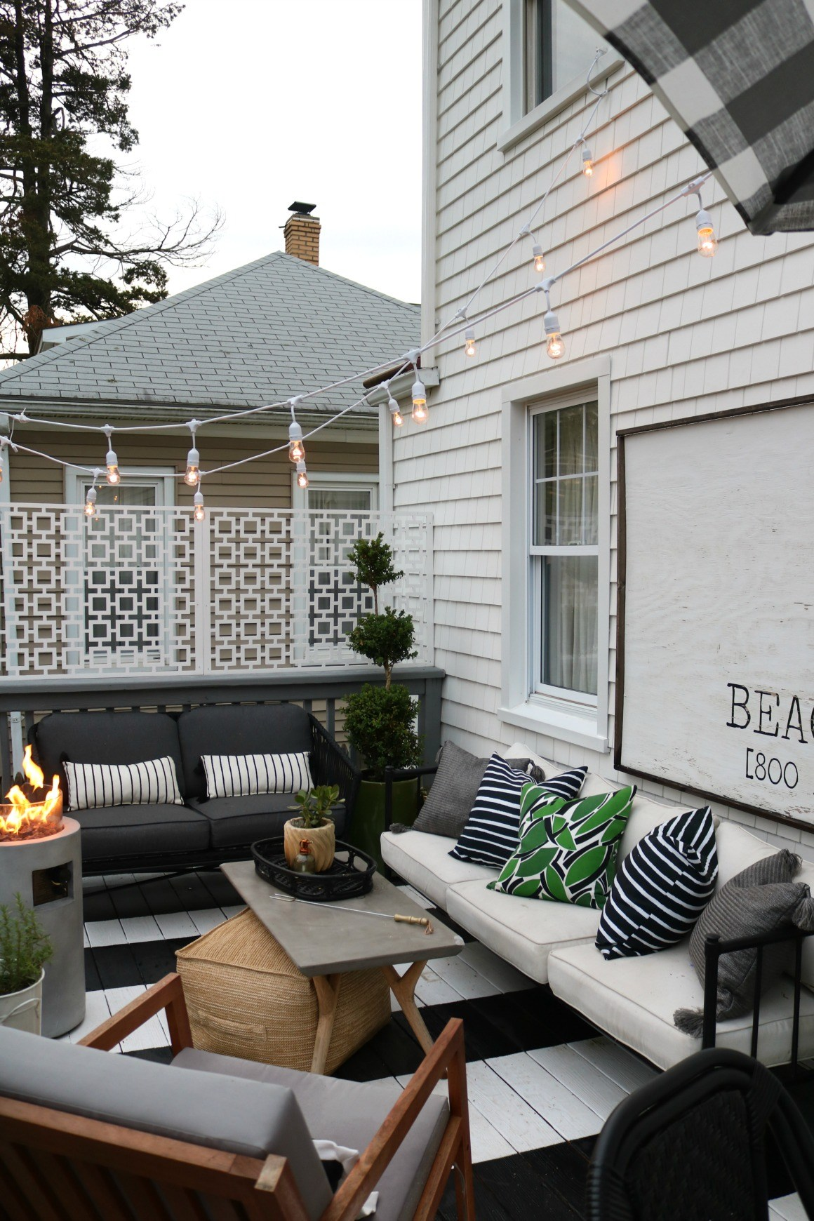 Entertaining Outdoors Using String Lights - Summer Essentials Patio Tour by Nesting With Grace