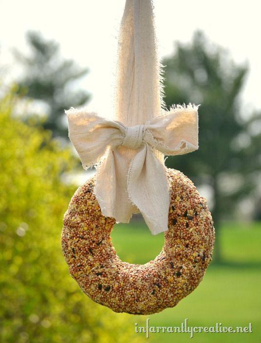 Bird Baths, Bird Feeders, and Bird Houses - DIY Birdseed Wreath by Infarrantly Creative