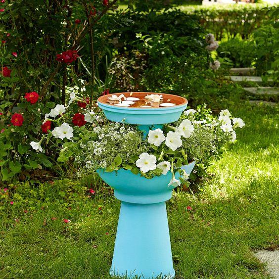 Bird Baths, Bird Feeders, and Bird Houses - DIY Garden Planter and Bird Bath by BHG