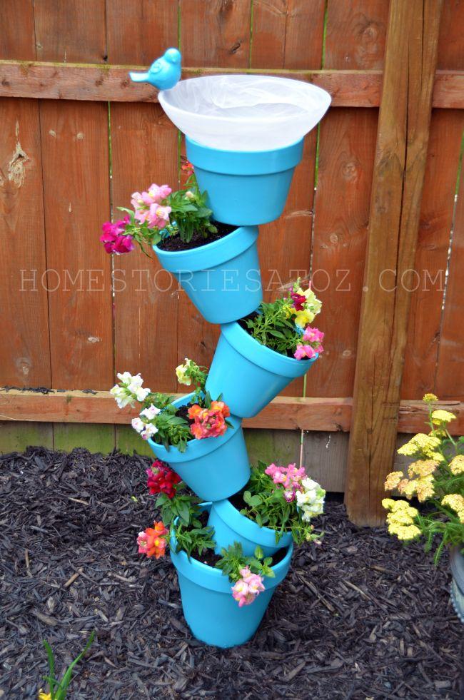 Bird Baths, Bird Feeders, and Bird Houses - DIY Garden Planter and Bird Bath by Home Stories A to Z