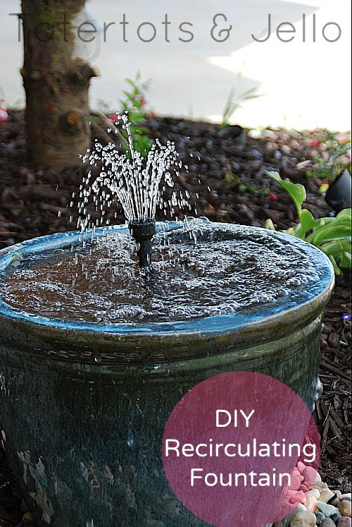 Bird Baths, Bird Feeders, and Bird Houses - DIY Recirculating Fountain by Tatertots and Jello