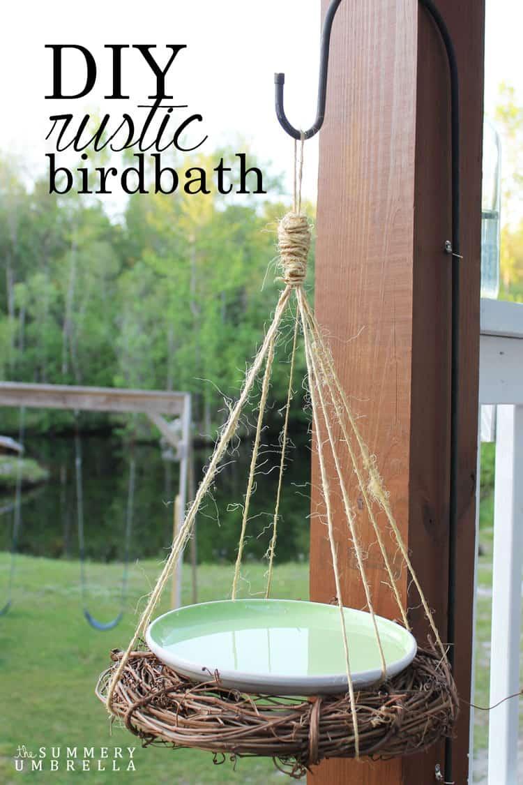 Bird Baths, Bird Feeders, and Bird Houses - DIY Rustic Birdbath by The Summery Umbrella