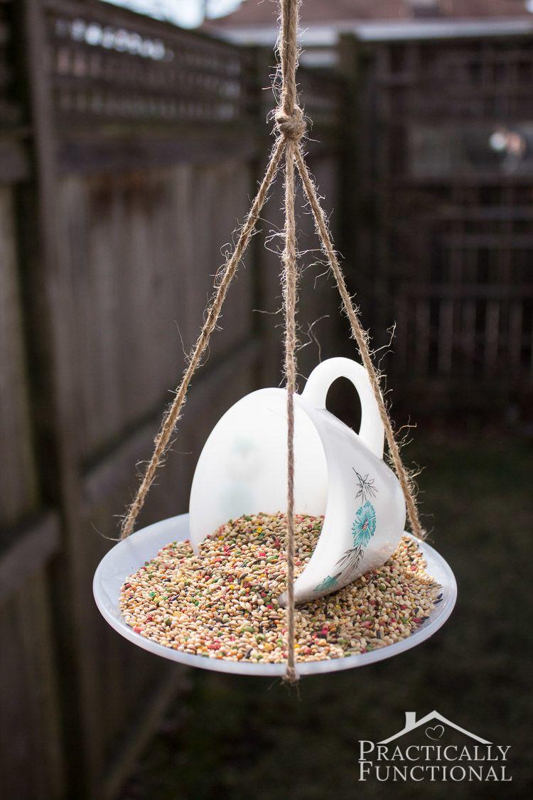 Bird Baths, Bird Feeders, and Bird Houses - DIY Teacup Birdfeeder