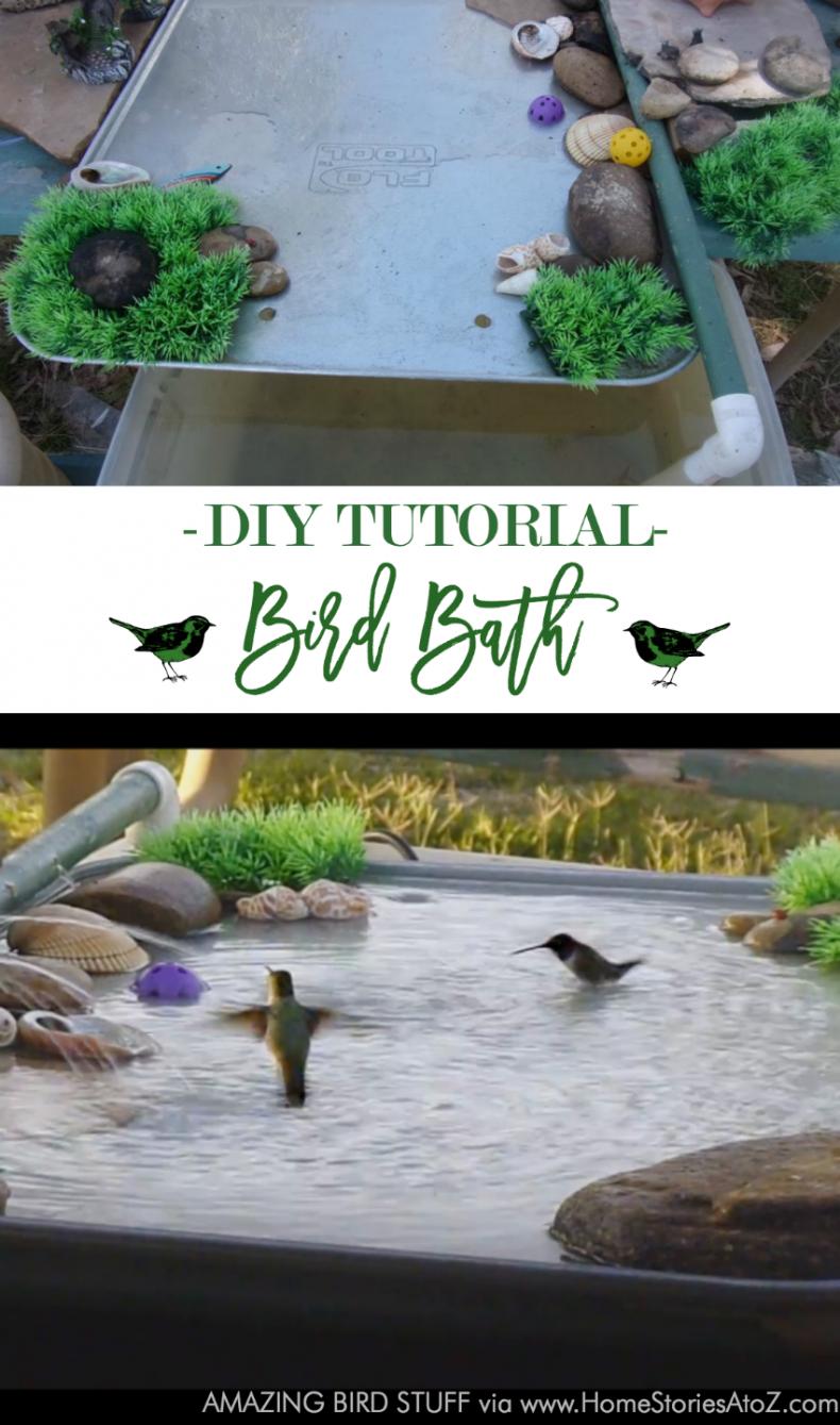 DIY Bird Baths, Feeders, and Houses- DIY Bird Bath by Home Stories A to Z