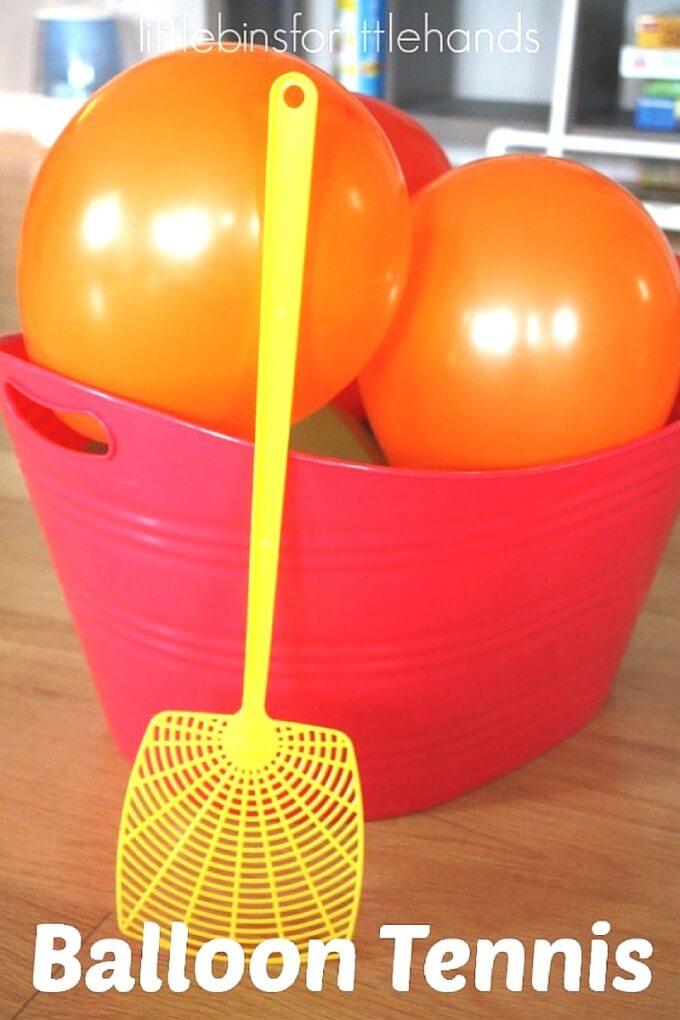 Fun Outdoor Games - Balloon Tennis by Little Bins for Little Hands