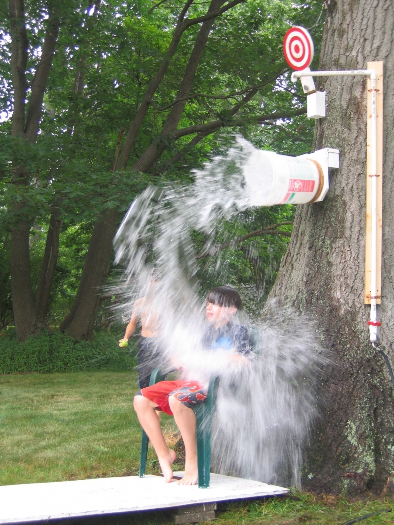 Fun Outdoor Games - DIY Dunk Bucket Game by The Happy Housewife
