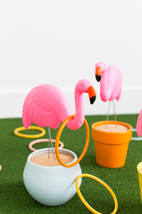 Fun Outdoor Games - DIY Flamingo Ring Toss Game by Sugar + Cloth