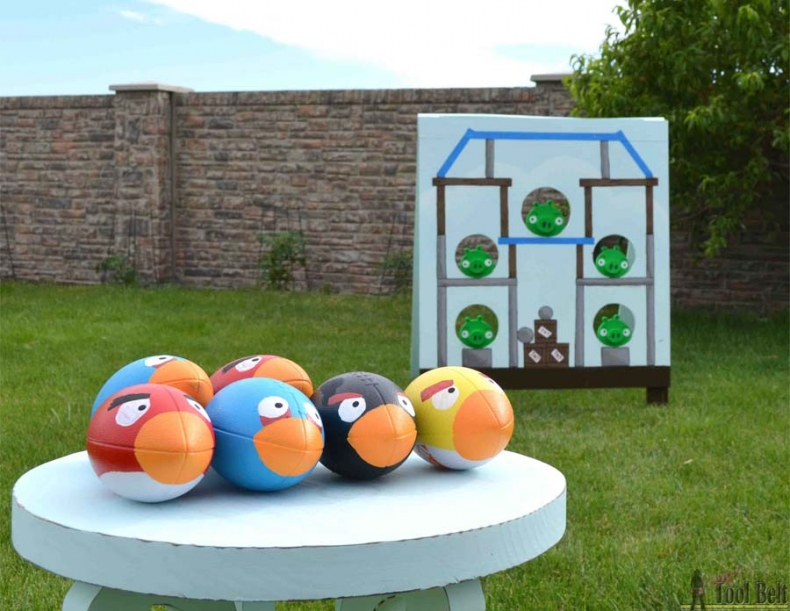 Fun Outdoor Games - DIY Football Toss Angry Birds Style by Her Tool Belt
