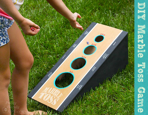 Fun Outdoor Games - DIY Marble Toss Game by Pretty Handy Girl
