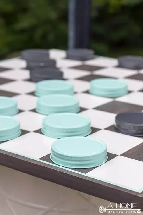 Fun Outdoor Games - DIY Oversized Checkerboard by A Home to Grow Old In