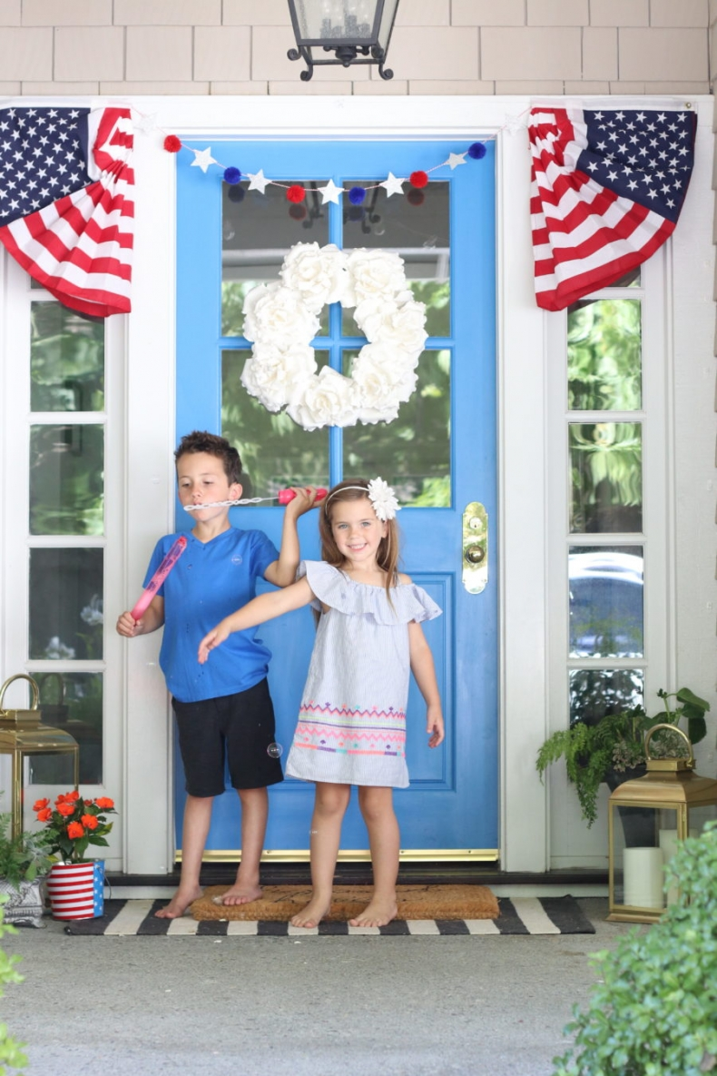Patriotic Porch Ideas - Fourth of July Porches - Door Decor by Modern-Glam
