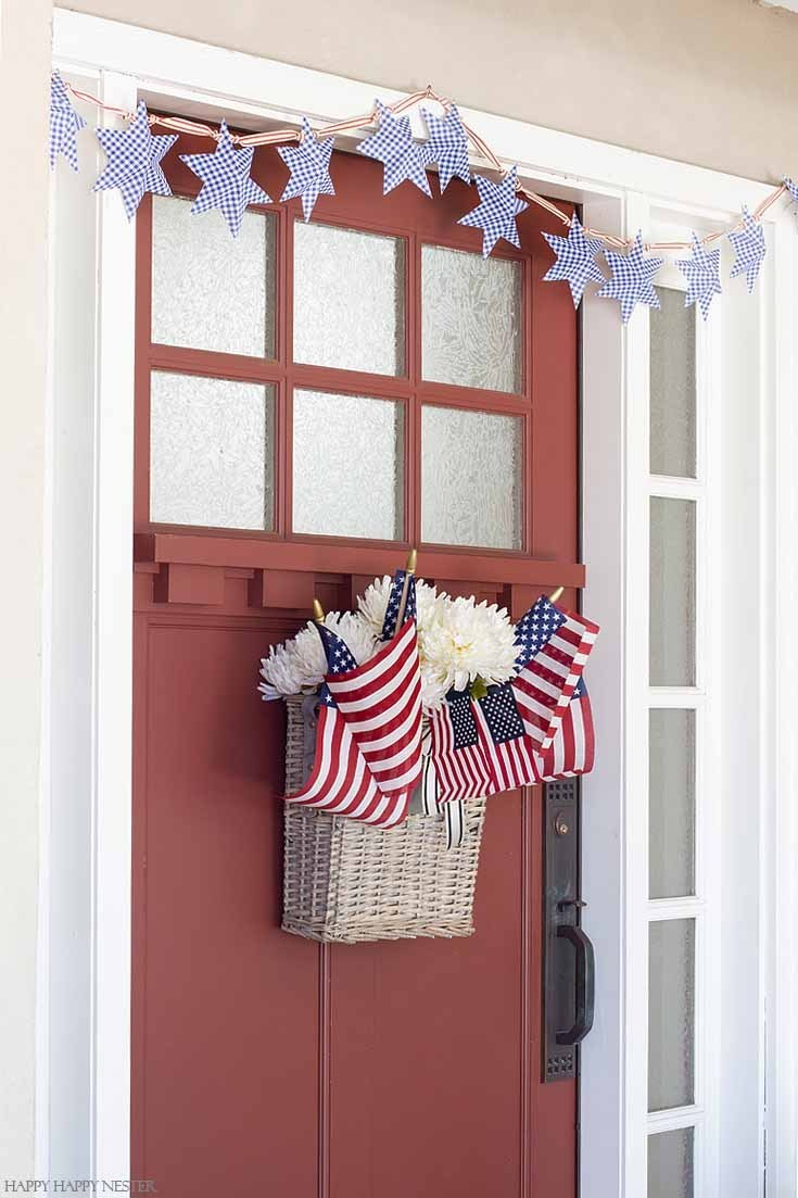 Patriotic Porch Ideas - Fourth of July Porches - July 4th Door Decor Wreath Basket by Happy Happy Nester