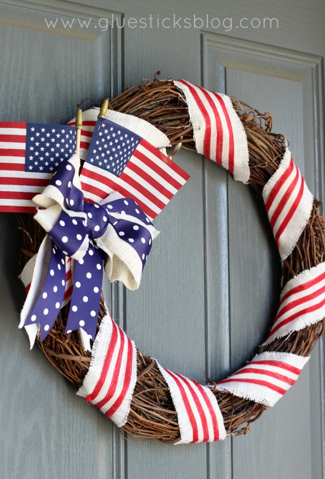 Patriotic Porch Ideas - Fourth of July Porches - July 4th Door Decor Wreath by Gluesticks Blog