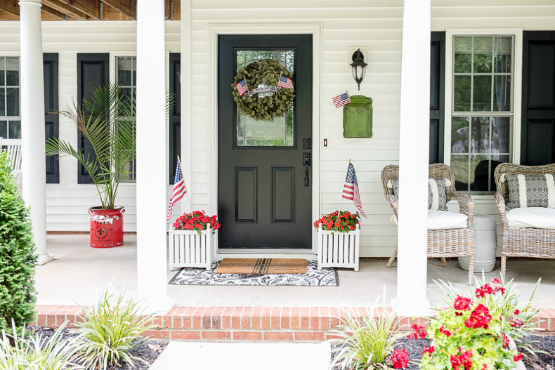 Patriotic Porch Ideas - Fourth of July Porches - July 4th Front Door by Home Stories A to Z