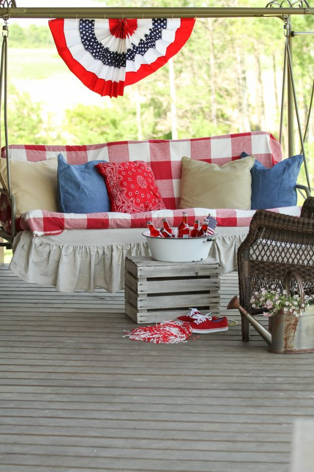 Patriotic Porch Ideas - Fourth of July Porches - July 4th Porch by Creative Cain Cabin