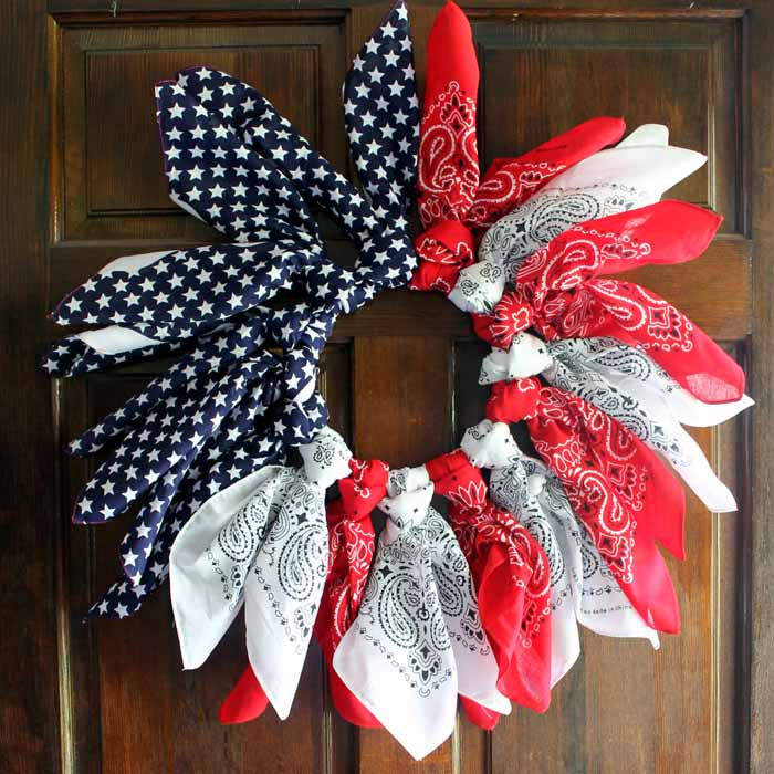 Patriotic Porch Ideas - Fourth of July Porches - Patriotic Bandana Wreath by Country Chic Cottage