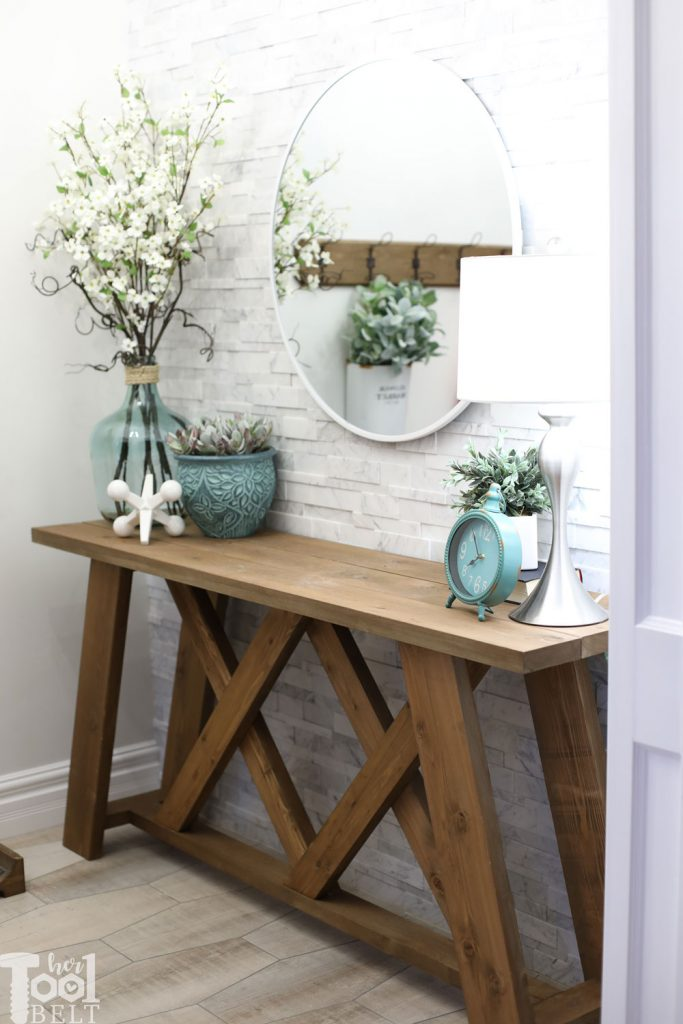 Simple Building Projects to Add Character to Your Home - Double X Console Table by Her Tool Belt
