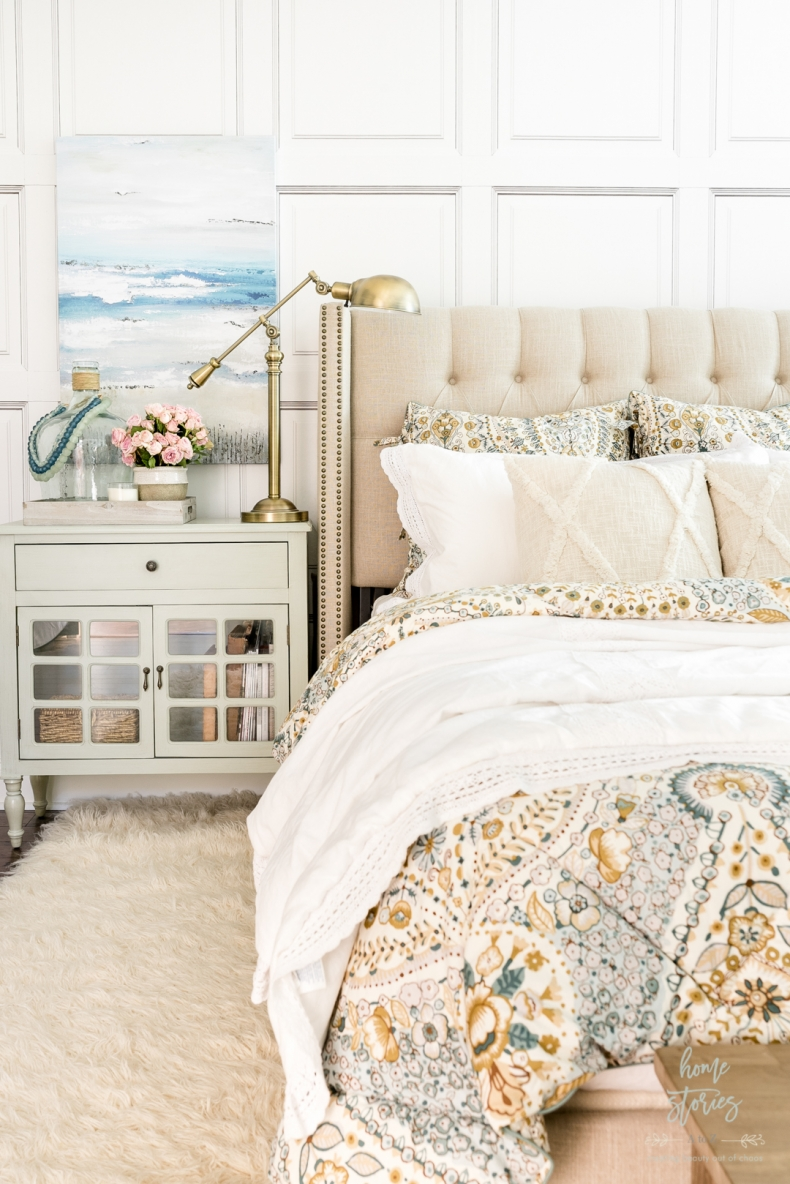 Summer Decor Ideas - Coastal Farmhouse Summer Bedroom by Home Stories A to Z