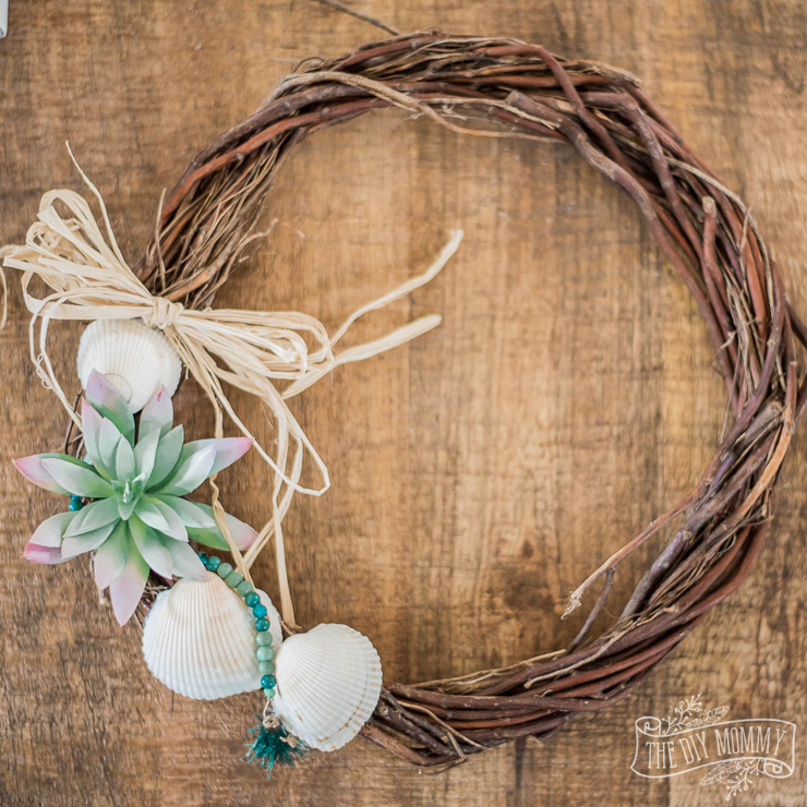 Summer Wreath Ideas - DIY Nautical Dollar Store Wreath by The DIY Mommy