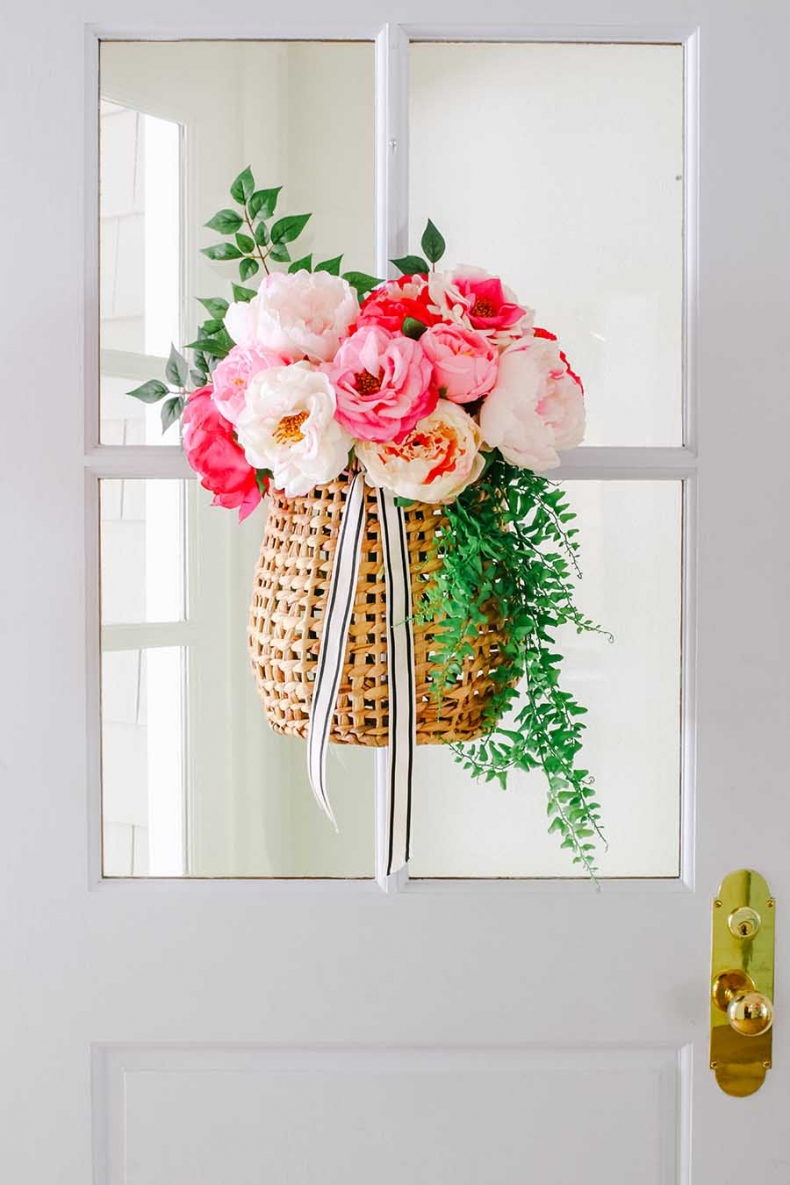 Summer Wreath Ideas - Hanging Basket Summer Peonies by Modern Glam