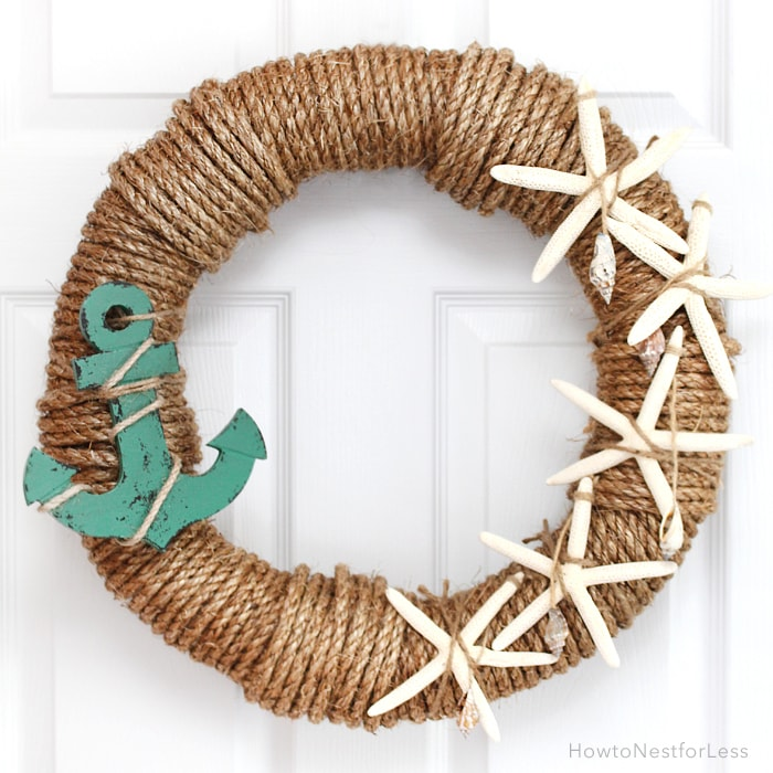 Summer Wreath Ideas - Rope Nautical Wreath by How to Nest for Less