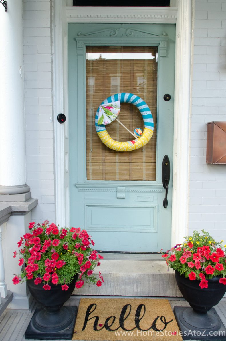 Summer Wreath Ideas - Summer Wreath Beach Umbrella by Home Stories A to Z