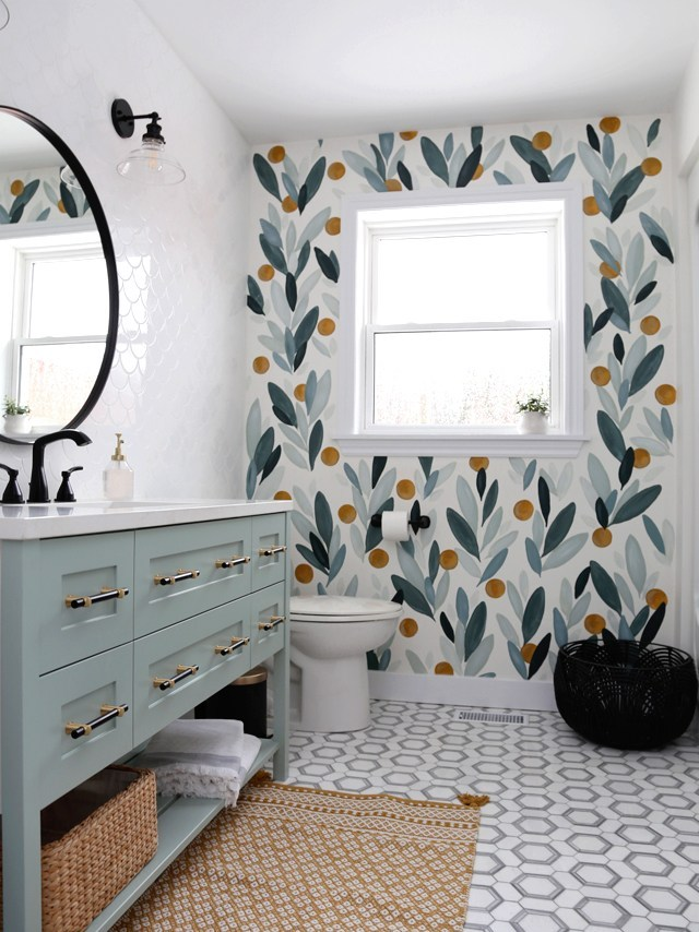 Budget Friendly Bathroom Renovations and Decor Tips - Colorful Bathroom Makeover Focal Point by Fynes Designs