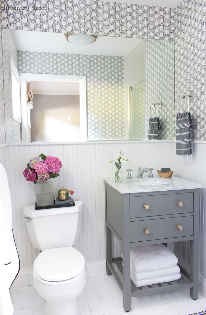 Budget Friendly Bathroom Renovations and Decor Tips - Hanging Wallpaper in Bathrooms by Driven by Decor