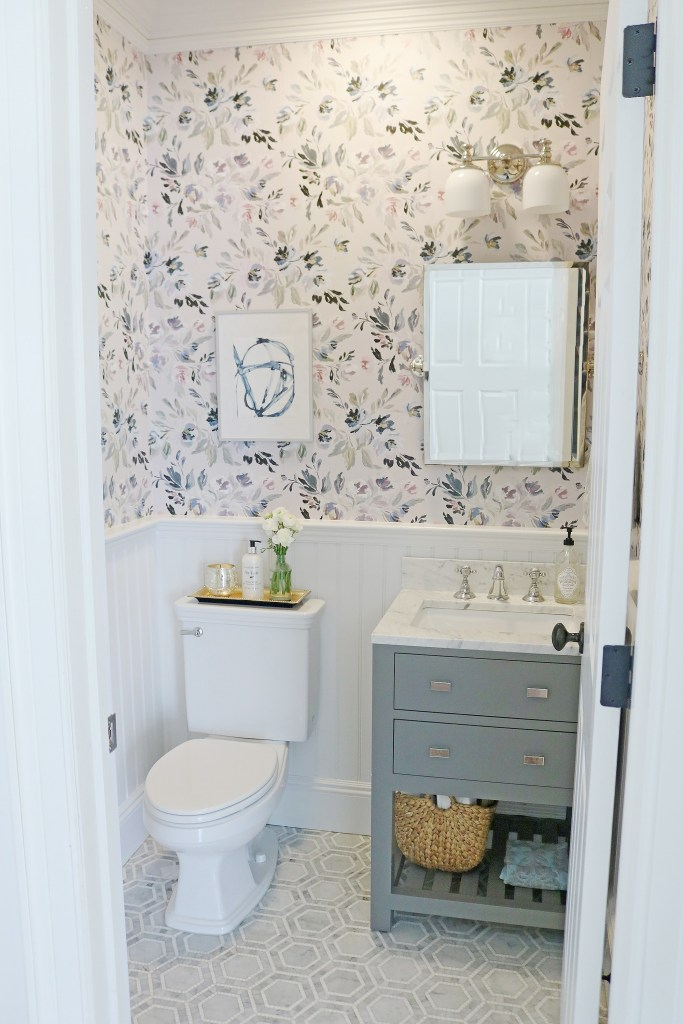 Budget Friendly Bathroom Renovations and Decor Tips - Powder Room Makeover by Darling Darleen