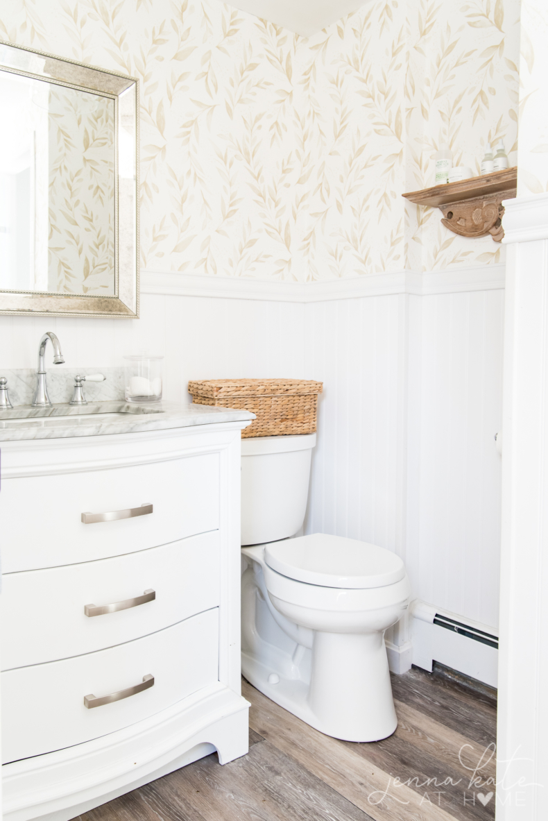 Budget Friendly Bathroom Renovations and Decor Tips - Quick Bathroom Makeover with Wallpaper by Jenna Kate at Home