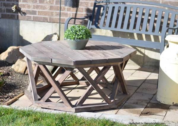 DIY Backyard Projects - DIY Outdoor Coffeetable by Her Tool Belt via Remodelaholic