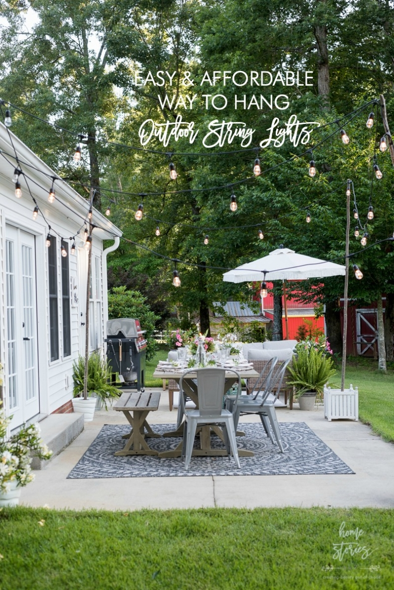 DIY Backyard Projects - Easy and Affordable Way to Hang String Lights Without Trees on Home Stories A to Z