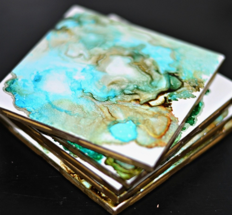 Fun Gifts and Crafts to Make This Summer - DIY Agate Tile Coasters by Rachel Teodoro