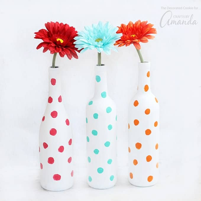 Fun Gifts and Crafts to Make This Summer - Polka Dot Wine Vases by Crafts by Amanda