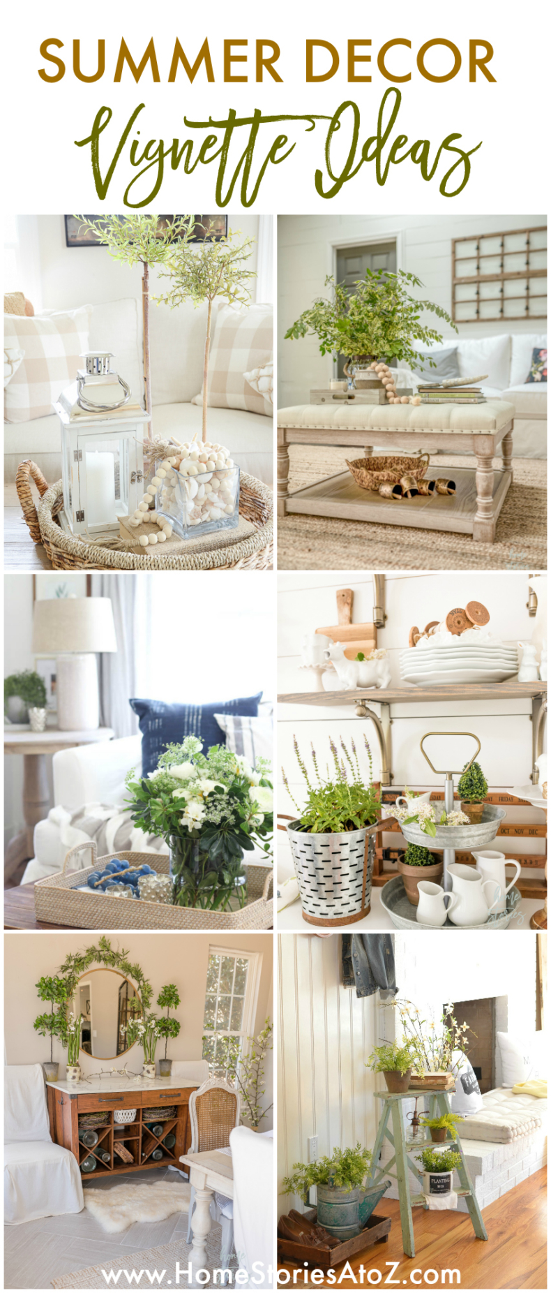 Summer Decor Ideas - Summer Vignettes and Tiered Tray Ideas