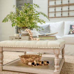 Summer Vignettes and Tiered TRay Ideas - Vintage Coffee Table Ideas by Home Stories A to Z