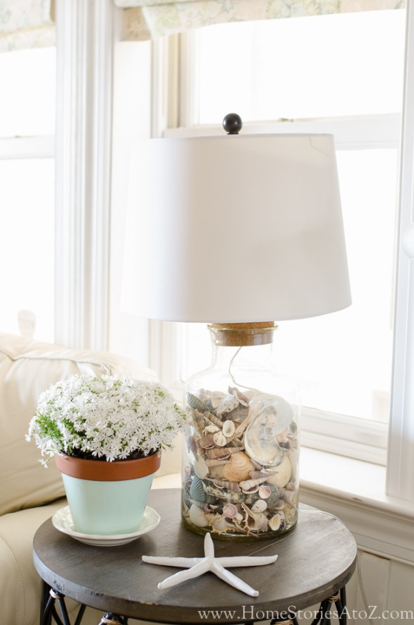 Summer Vignettes and Tiered Tray Ideas - Coastal Living Room Vignette by Home Stories A to Z