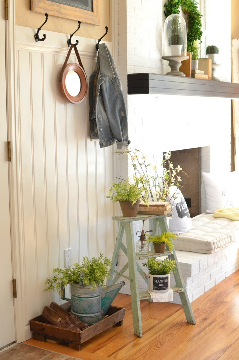 Summer Vignettes and Tiered Tray Ideas - Farmhouse Ladder Vignette by Sarah Joy Blog