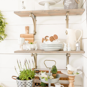 Summer Vignettes and Tiered Tray Ideas- Fresh Green Breakfast Room by Home Stories A to Z