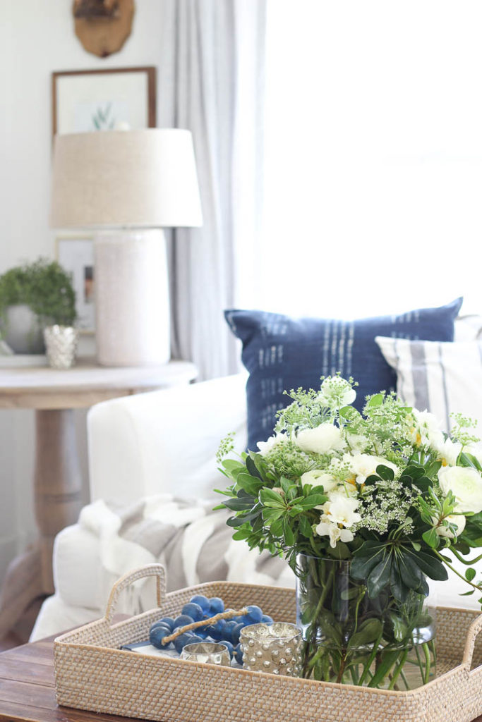 Summer Vignettes and Tiered Tray Ideas - Summer Coffee Table Vignette by Rooms FOR Rent