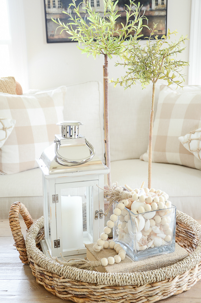 Summer Vignettes and Tiered Tray Ideas - Summer Vignette by Stone Gable Blog