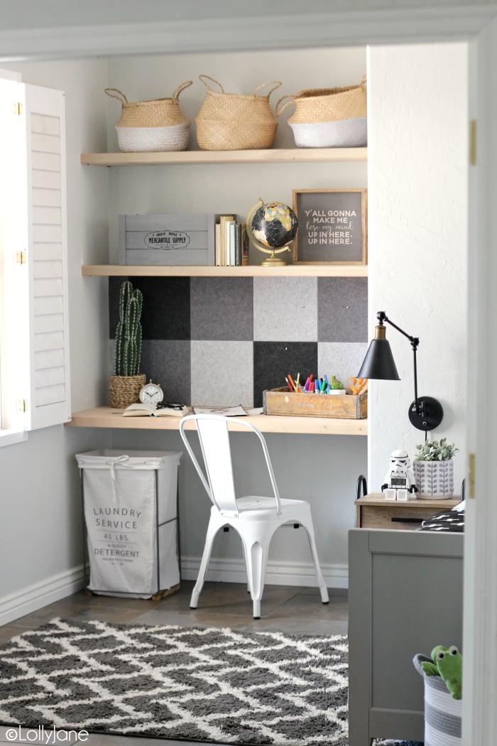 DIY Office Ideas - Easy Modern Farmhouse Bulletin Board by Lolly Jane