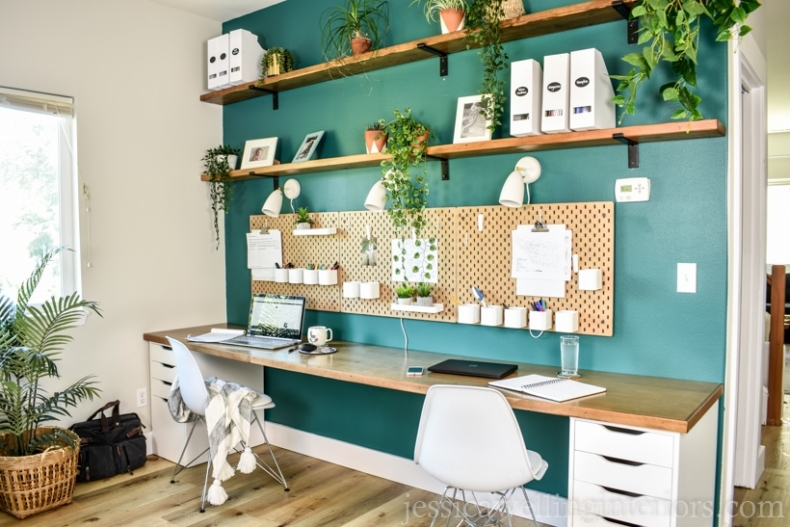 DIY Office Ideas - Gorgeous Open Shelving Office Space by Jessica Welling Interiors
