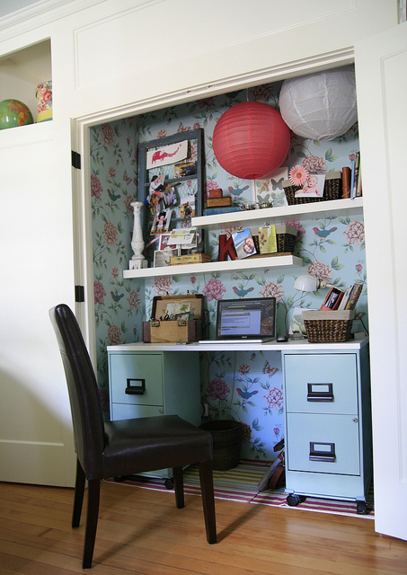 DIY Office Ideas - My Office in a Closet - Cloffice by Kelly Rae Roberts