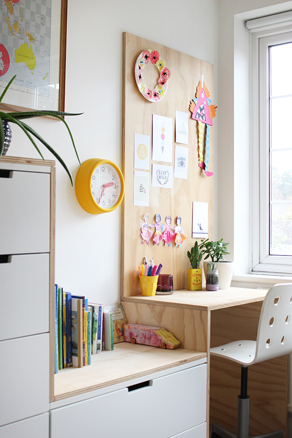DIY Office Ideas - Plywood Desk Idea by Growing Spaces